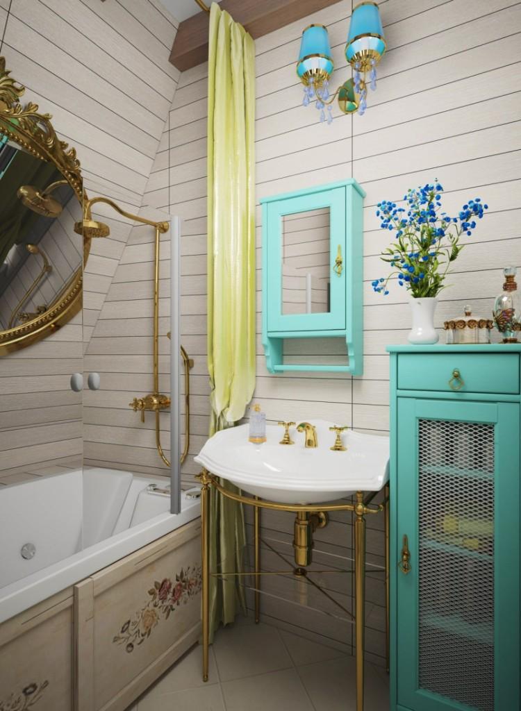 Интерьер маленькой ванной в стиле прованс