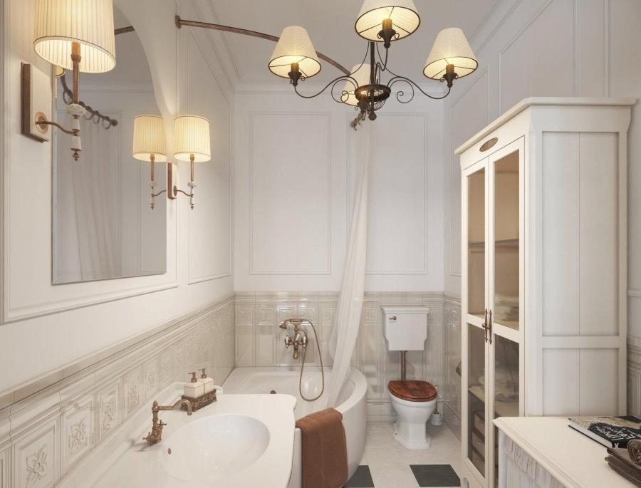 Обстановка в ванной комнате деревенского стиля