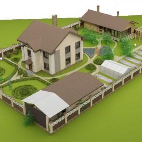 План загородного участка с домом и хозяйственными постройками