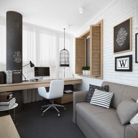 рабочий кабинет в квартире идеи декора