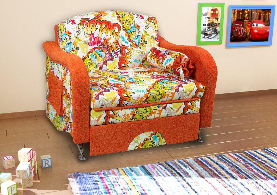 Пестрая обивка детского кресла кровати