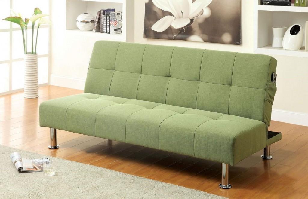 Раскладной диван с обивкой зеленого цвета