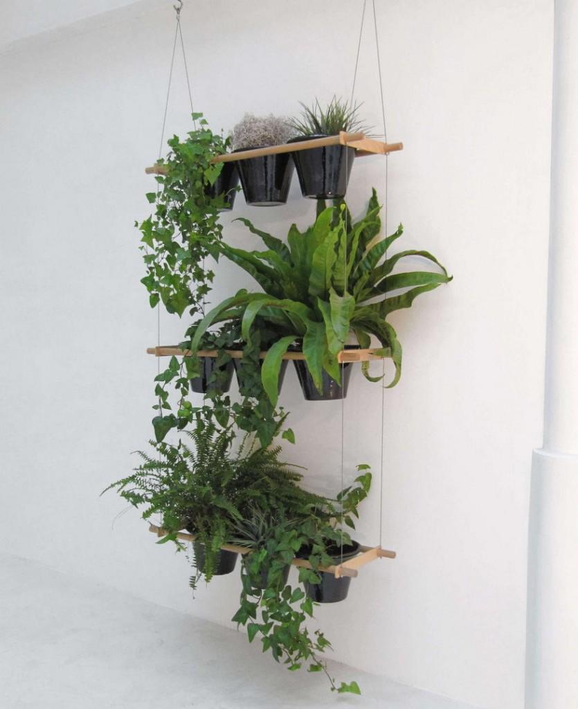 Вертикальное озеленение белой стены в жилой комнате