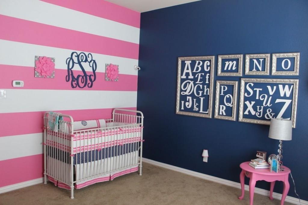 Розово-синяя комната для девочки
