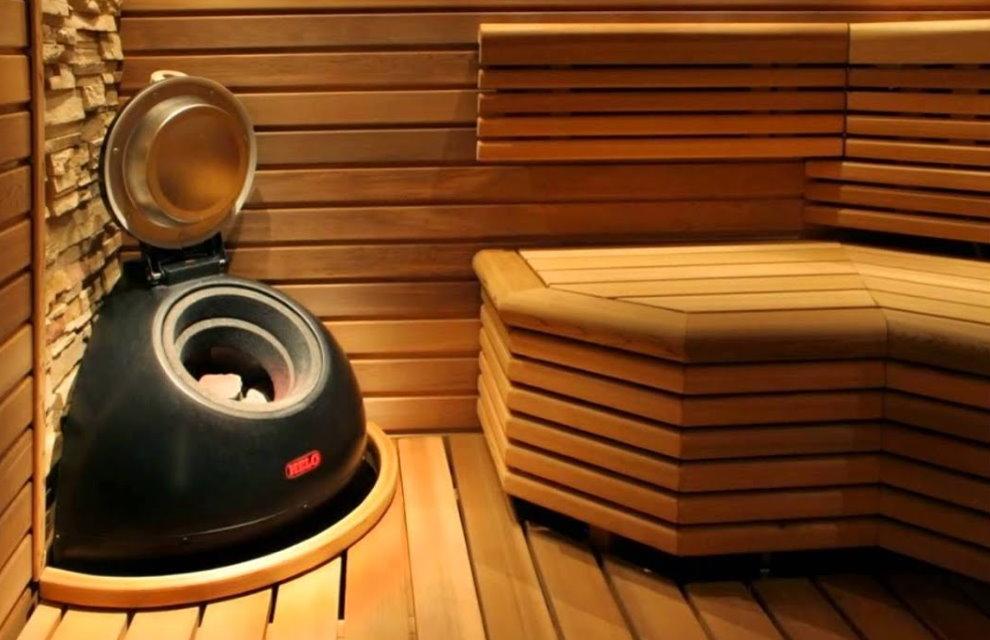 Угловая печь-каменка для сауны в квартире