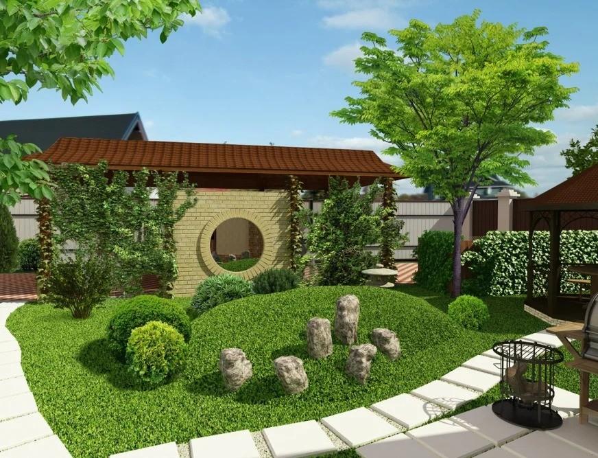 садовый участок 6 соток японский стиль