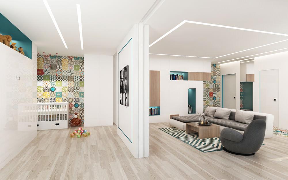 Сдвижная перегородка в однокомнатной квартире 42 кв метра