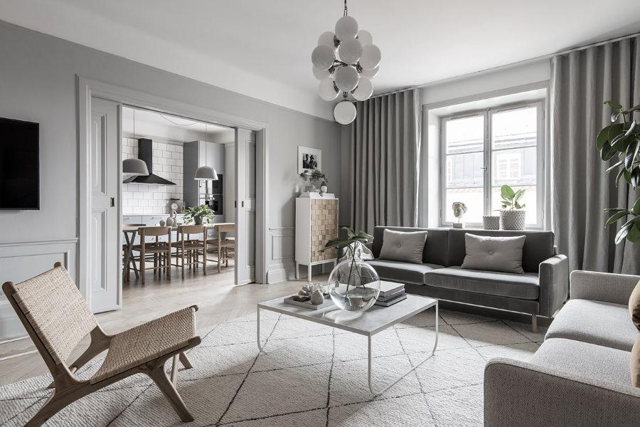 Дизайн гостиной квартиры в сером цвете