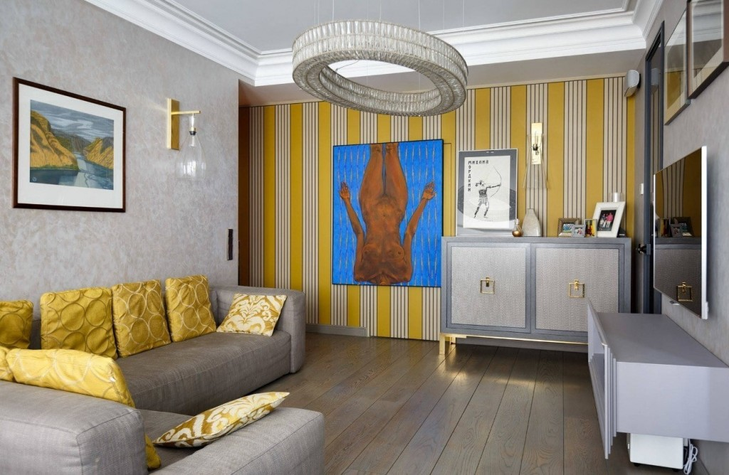 Желто-серая гостиная в квартире