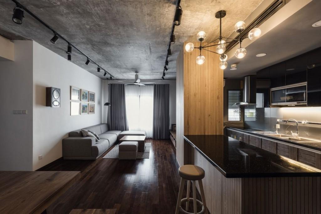 Бетонный потолок в квартире лофтной стилистики