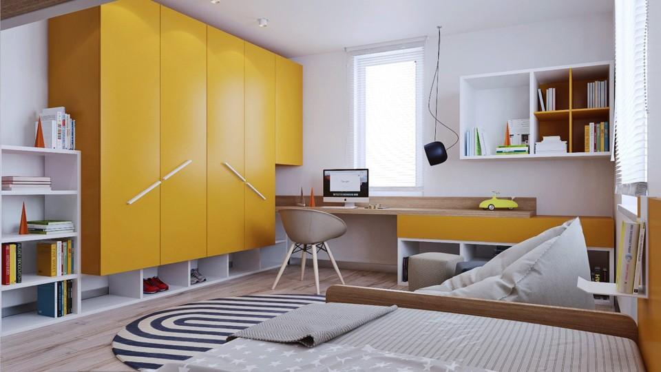 Желтый шкаф оригинальной конструкции в комнате подростка