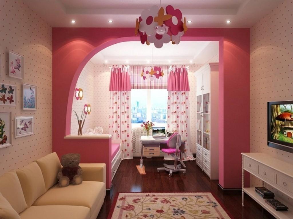 Красивые занавески в детской зоне общей комнаты