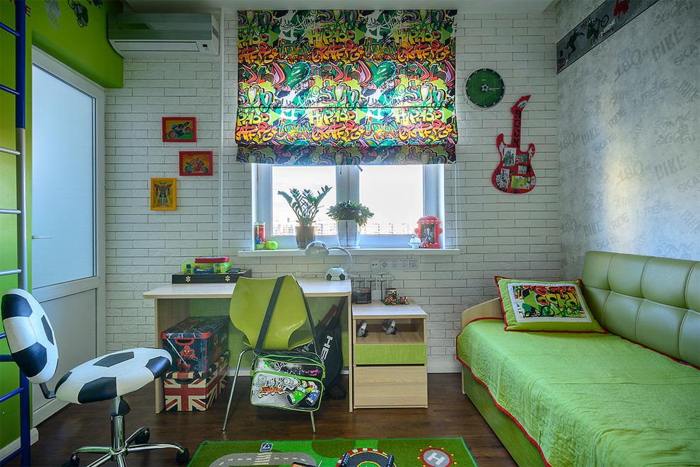шторы в детскую комнату с граффити