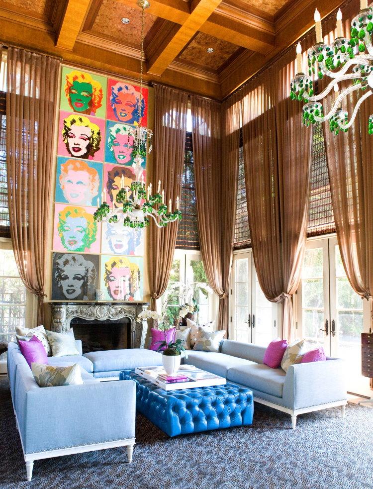 Выбор штор для гостиной в стиле поп-арта