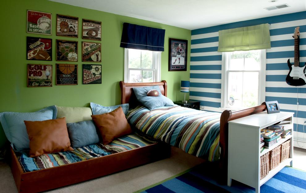 Сине-зеленая детская комната для мальчика