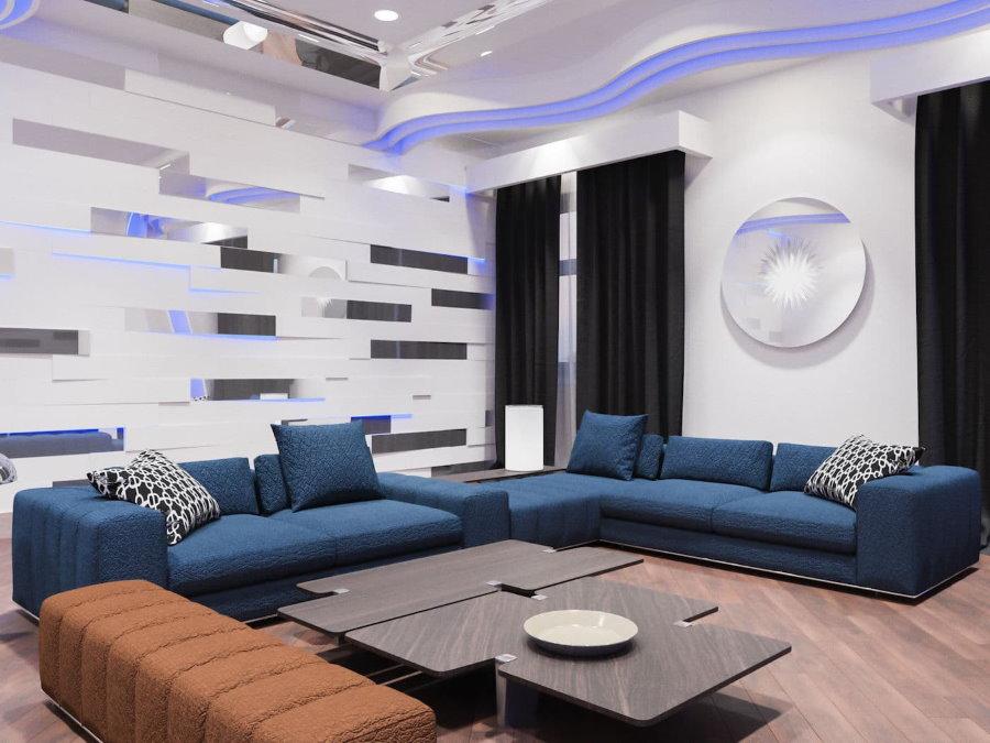 Зона отдыха в зале стиля хай-тек с синими диванами