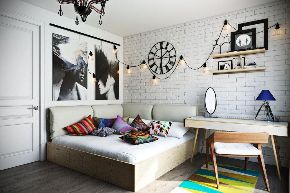 Плакаты на стене детской с скандинавском стиле