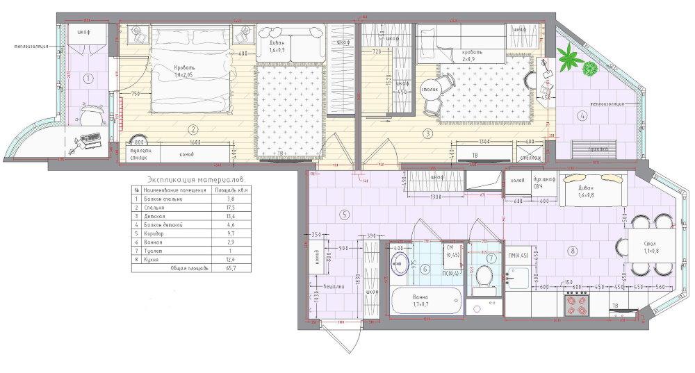 Схема двухкомнатной квартиры серии П 44 Т