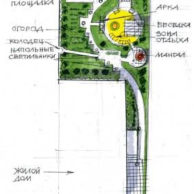 Схема планировки садового участка площадью 4 сотки