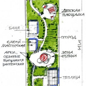 Проект застройки садового участка вытянутой формы