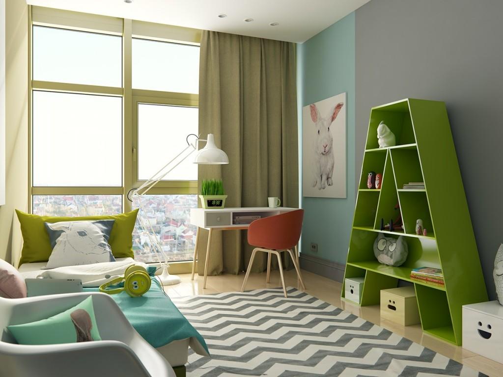 Зеленый стеллаж для детских книжек