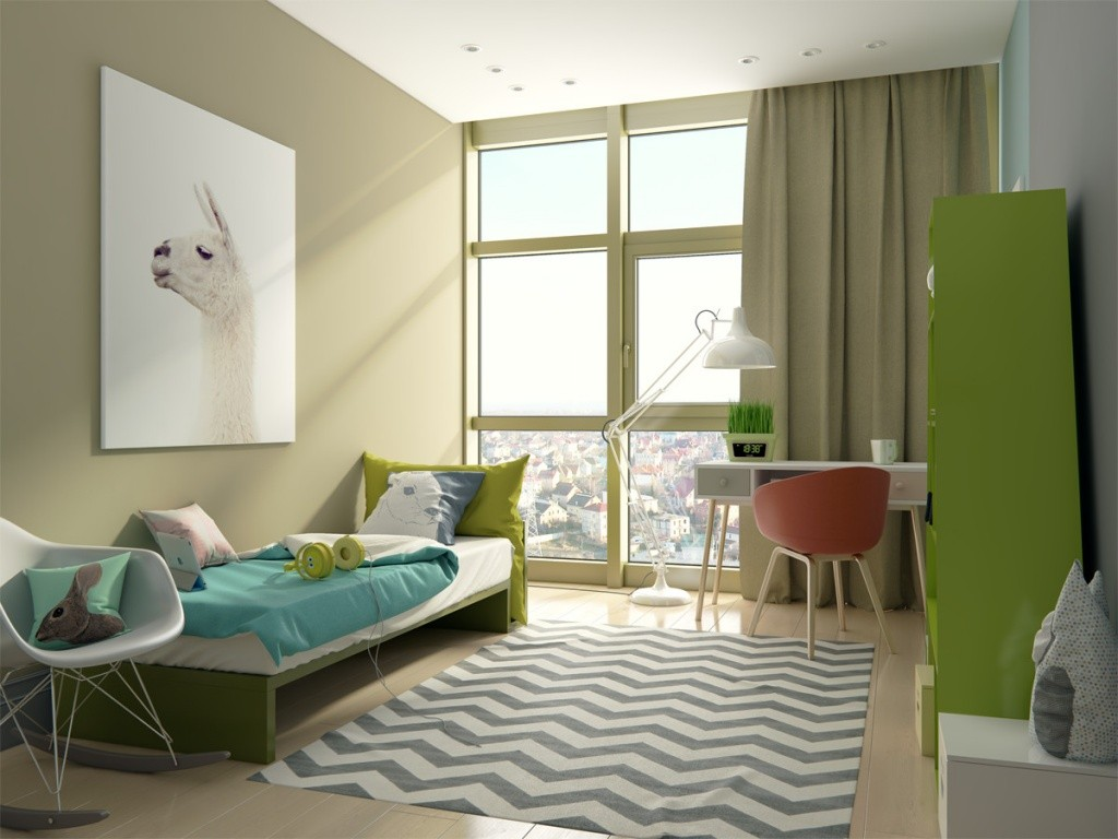 Панорамное окно в современной детской комнате