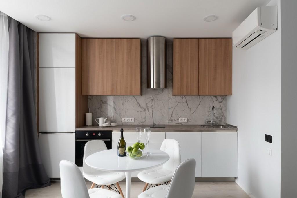 Линейный гарнитур в кухне современной квартиры
