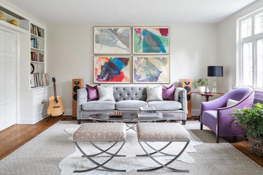 Абстракция на модульных картинах в квартире