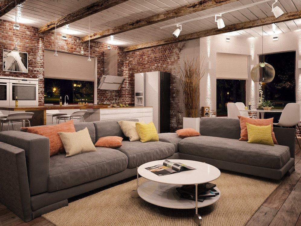 Современная гостиная комната в стиле лофта