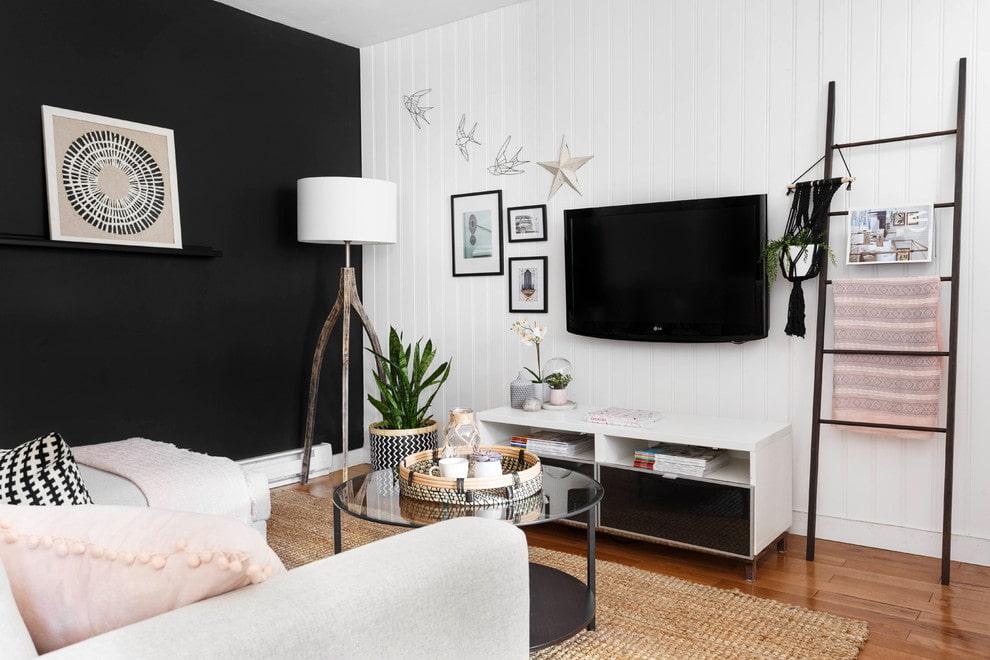 Черно-белый дизайн комнаты в квартире