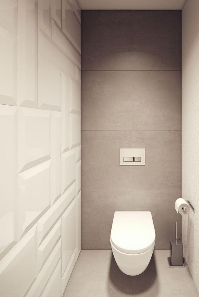 Белый подвесной унитаз в современном туалете