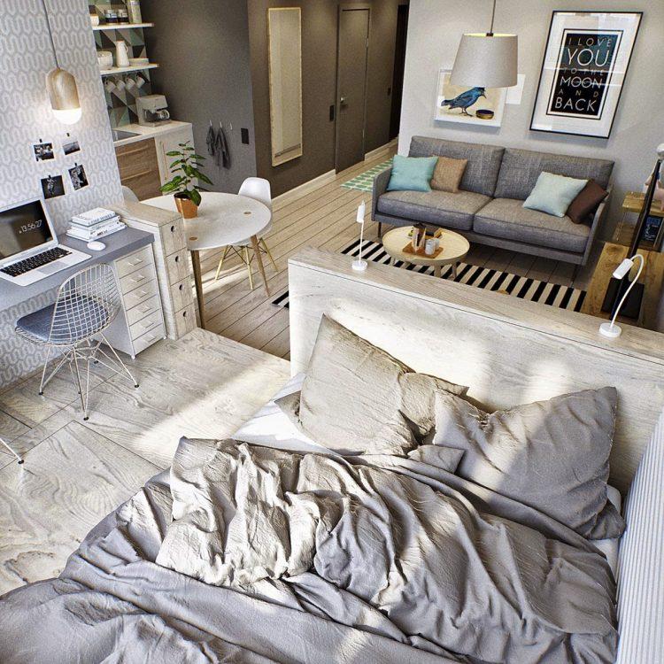 Серые подушки на кровати в однушке