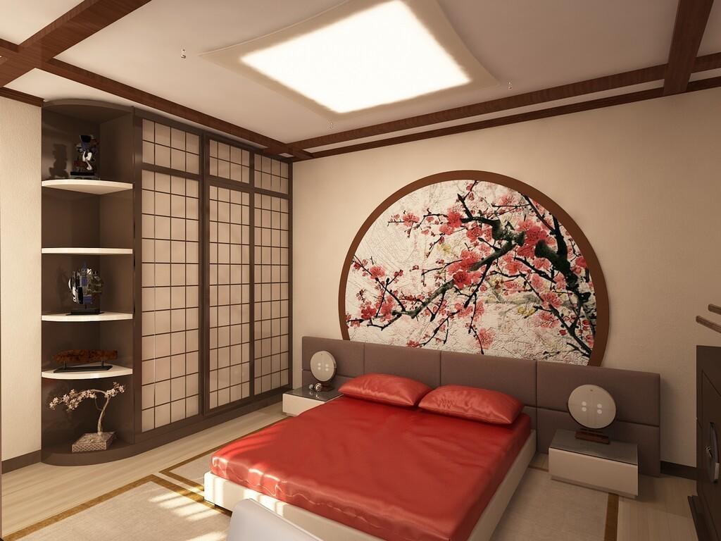 Спальня в японском стиле в трехкомнатной квартире
