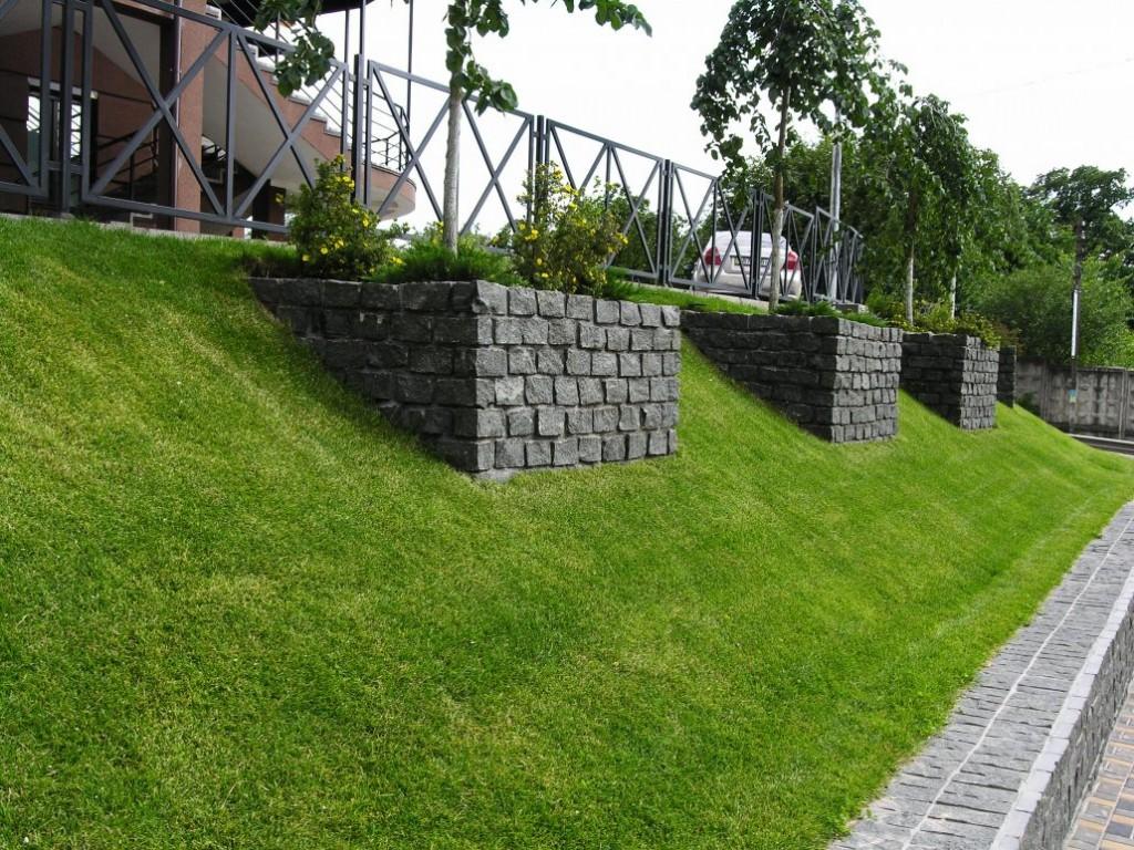 Специальный газон на крутом склоне участка