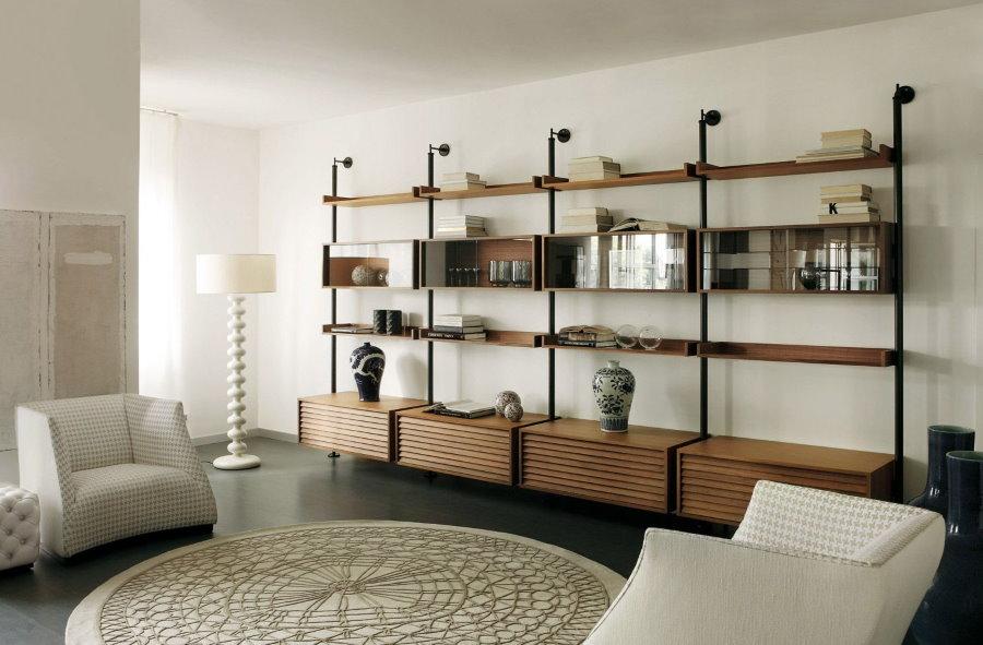 Открытый стеллаж на акцентной стене современной гостиной
