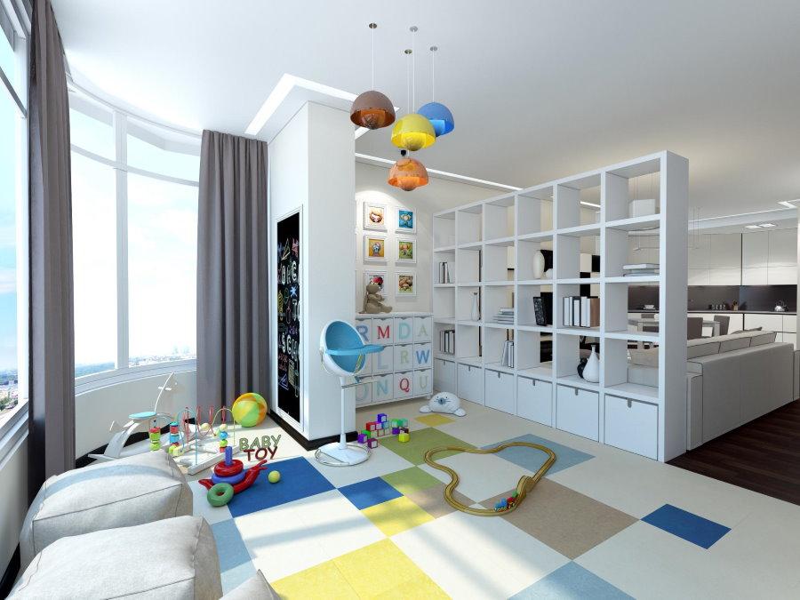 Зонирование белым стеллажом однокомнатной квартиры