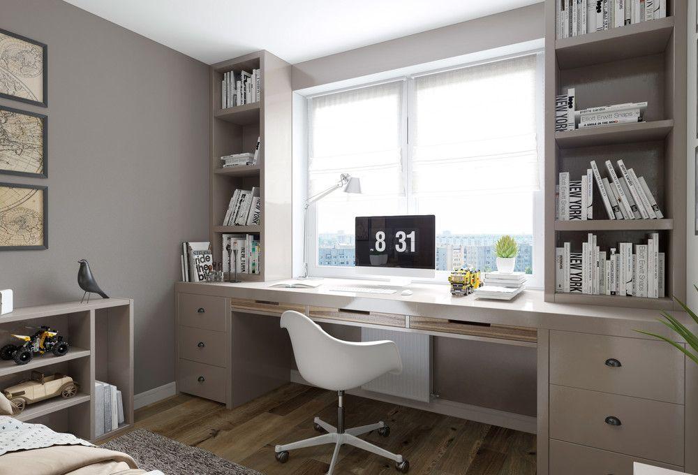 Рабочий стол перед окном комнаты подростка