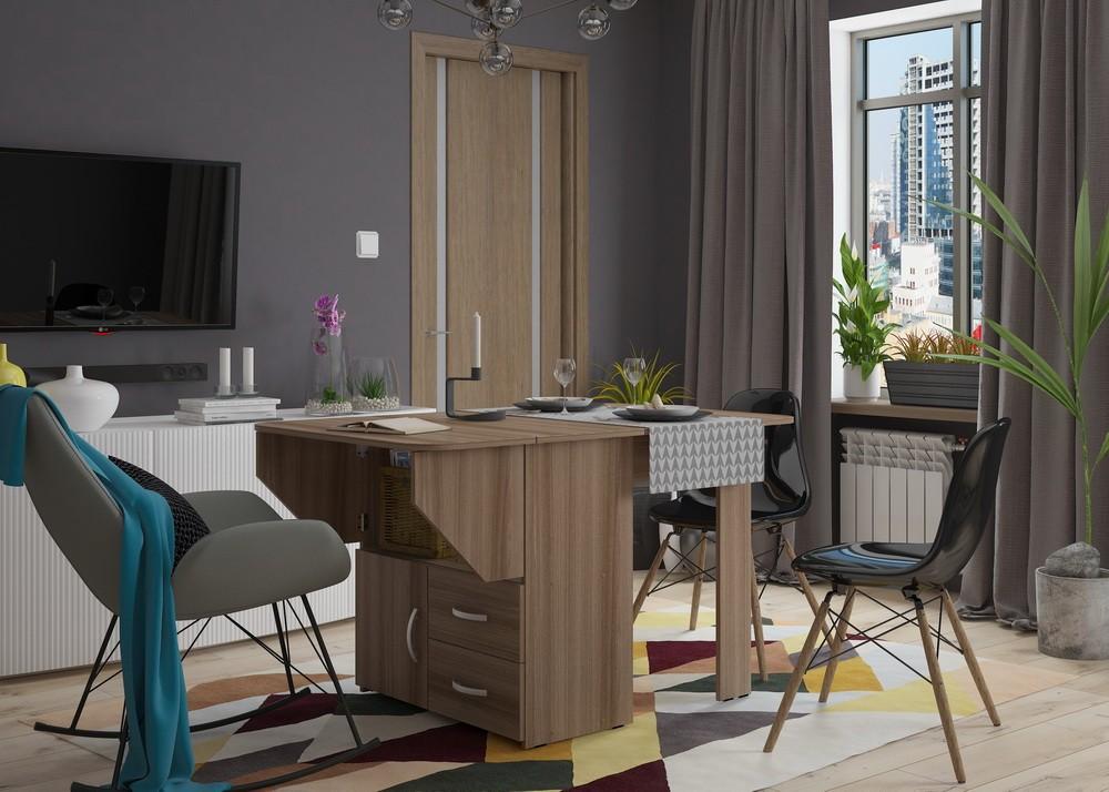 Стол-книжка в дизайне гостиной в квартире