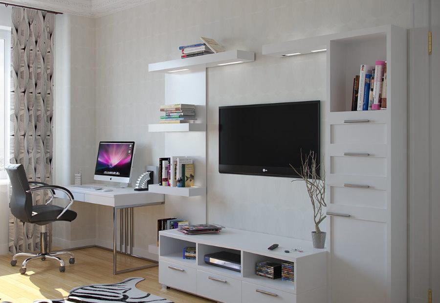 Компьютерный стол в интерьере гостиной