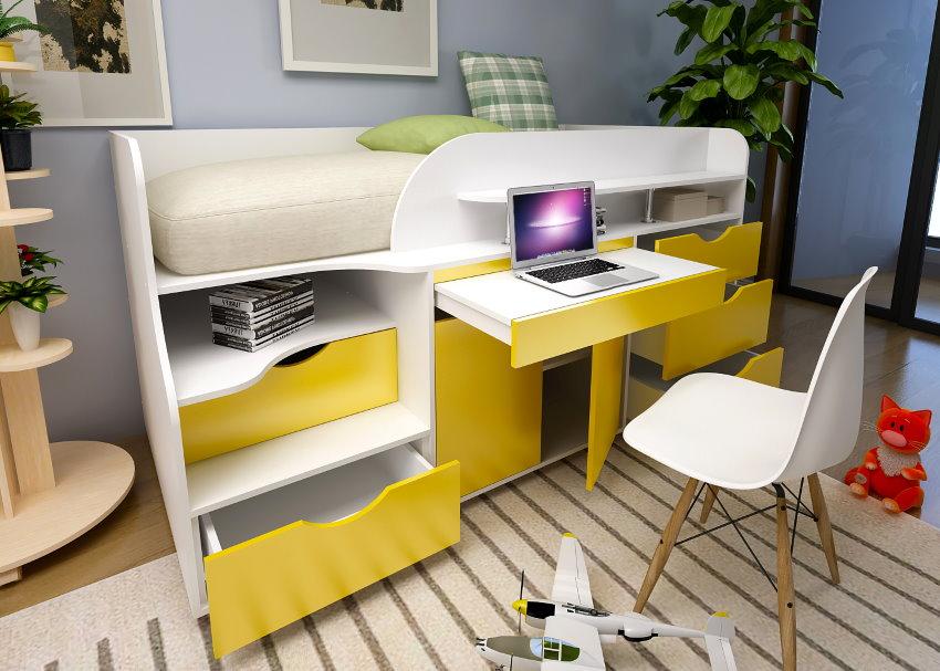 Кровать-чердак для ребенка школьника