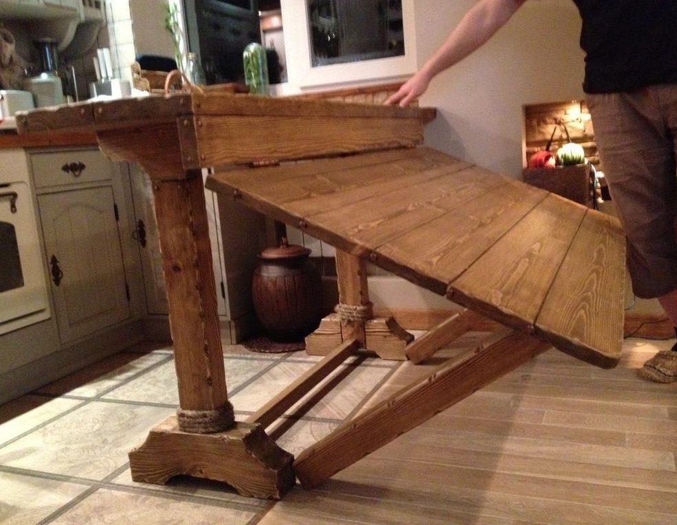 Раскладной деревянный стол для гостиной в стиле кантри