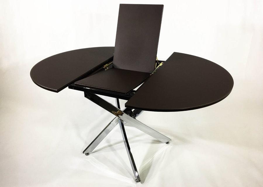 Черный стол-трансформер из стекла для гостиной комнаты
