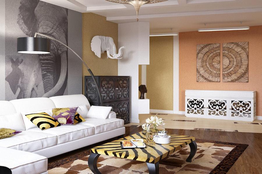 Гостиная зона студии в африканском стиле