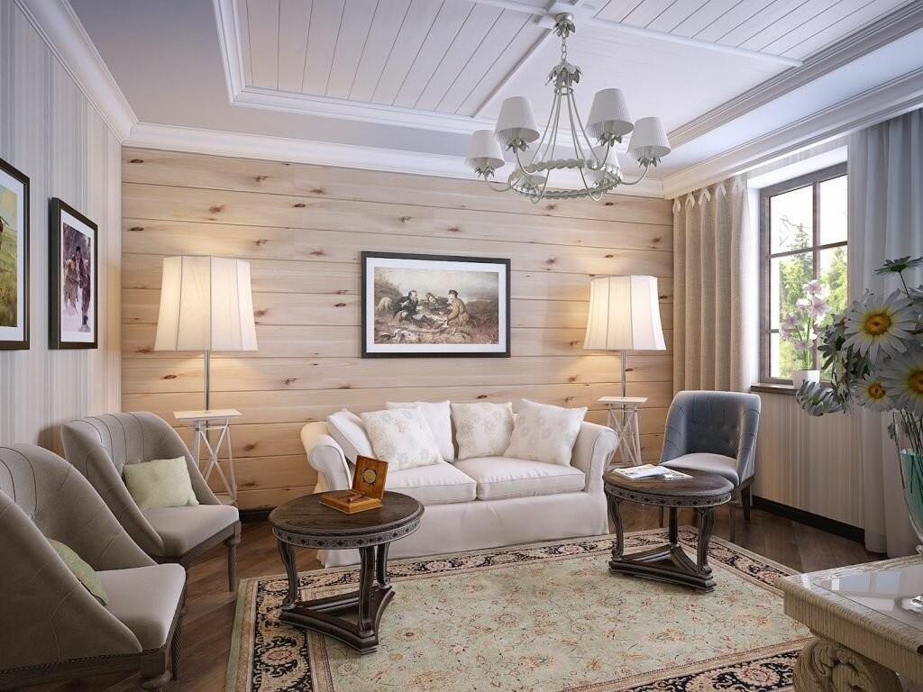 Интерьер гостиной деревянного дома в светлых тонах