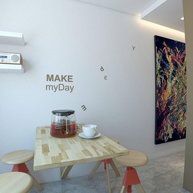 Кухонный стол перед белой стеной