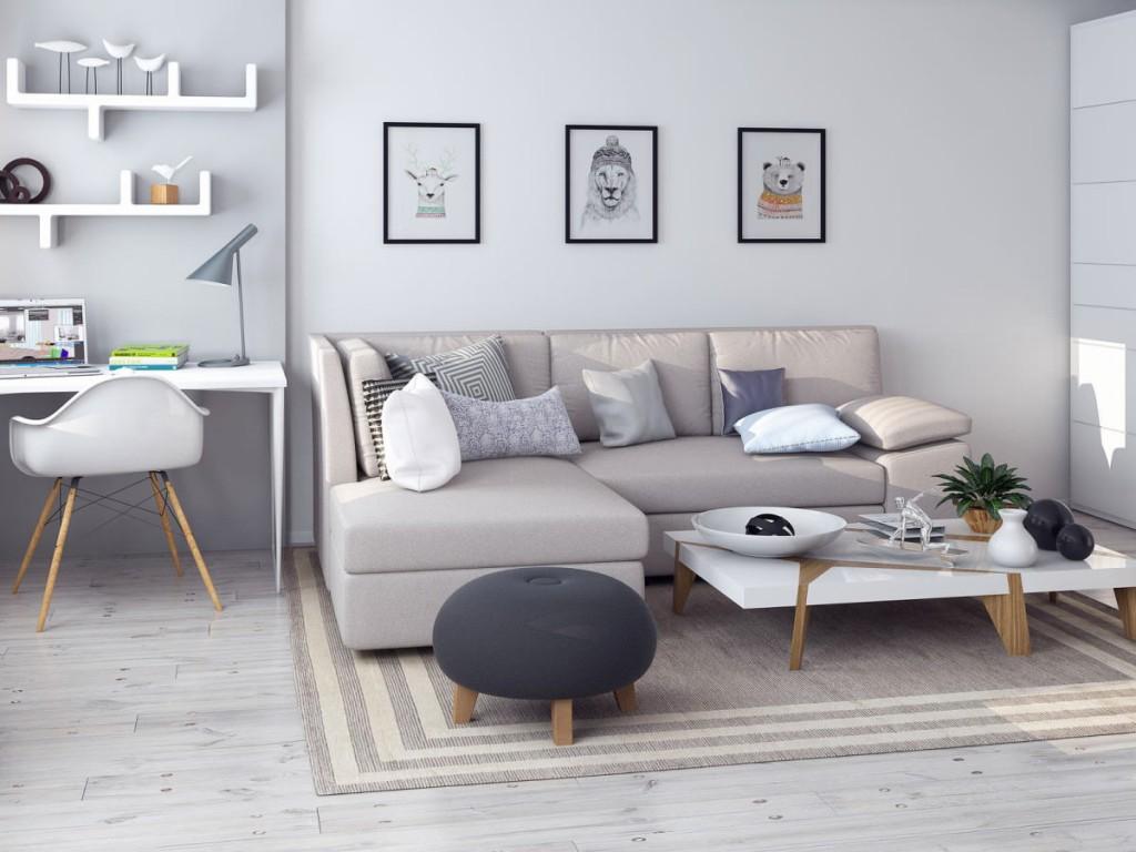 Окраска стен квартиры-студии в белый цвет