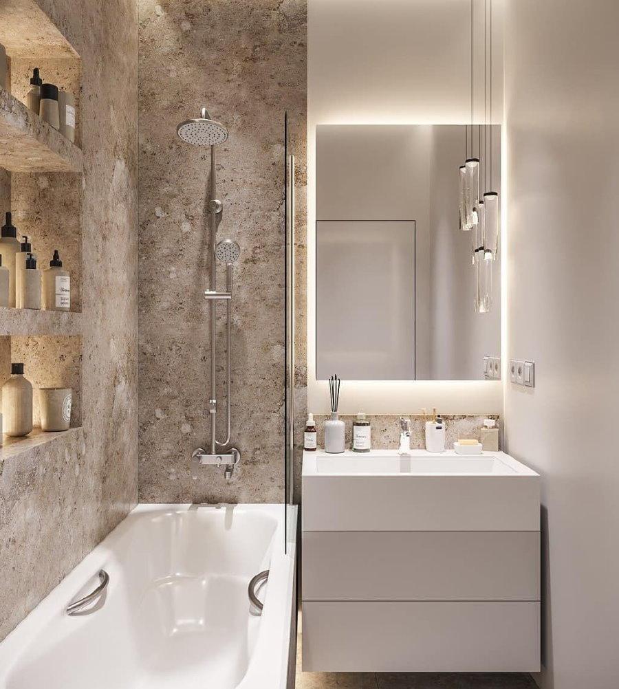Скрытая подсветка зеркала в ванной 3 кв метра