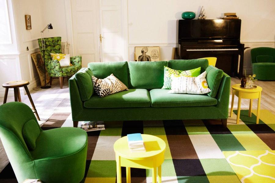 Мягкая мебель с тканевой обивкой зеленого оттенка