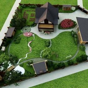 Схема застройки загородного участка трапециевидной формы