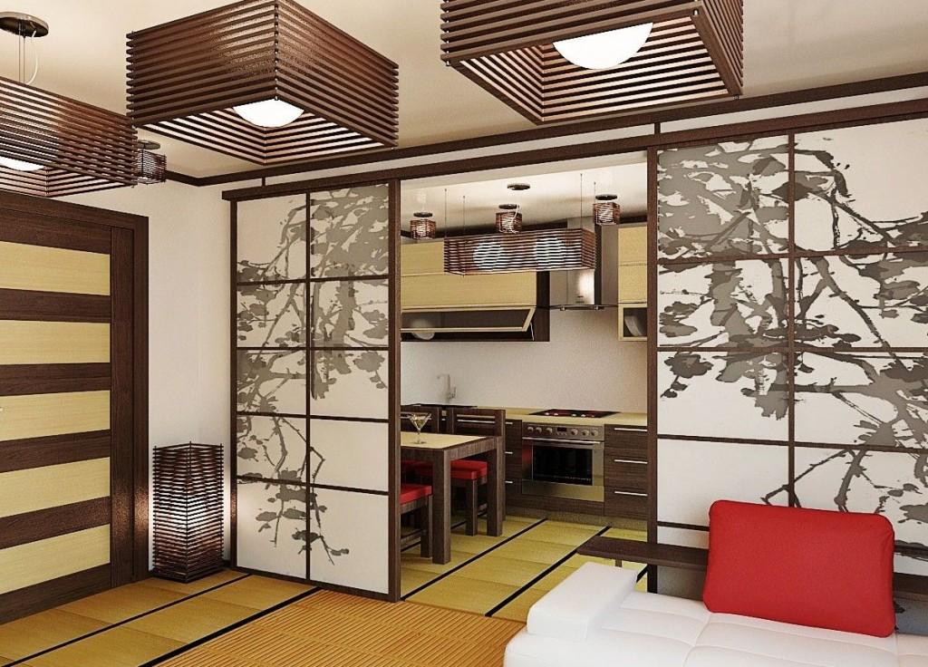 Раздвижная перегородка в квартире японского стиля
